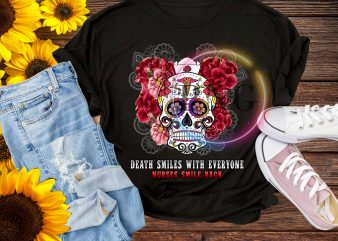Nurse Skull Flower death smiles with everyone nurse smile back T shirt Design PNG