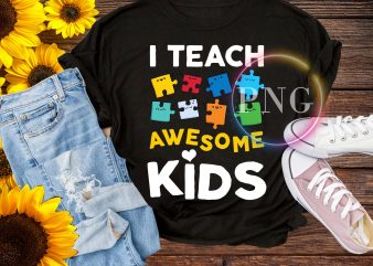 I teach awesome kids t shirt – teacher pride autism kid back to school