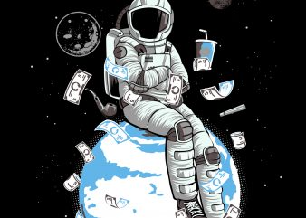 astronaut sitting on the planet t-shirt design