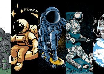 astronaut 5 design pack bundle t-shirt design