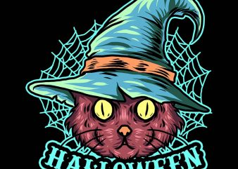 black cat witch tshirt design