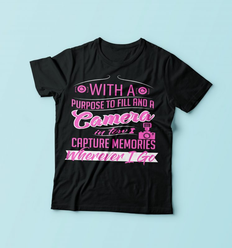 Camera tshirt design for merch by amazon