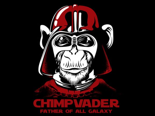 chimp vader print ready shirt design