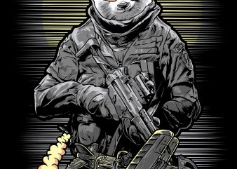 panda soldier t-shirt design