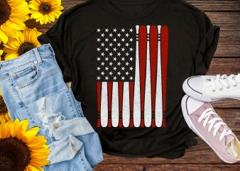 Baseball Bat America Flag and Softball T shirt Design PNG Patriotic 4th of July