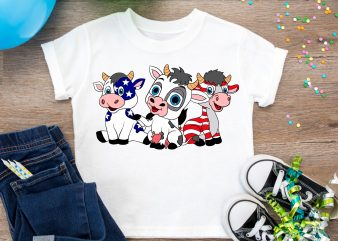 4th Of July Cows America Flag T shirt – Design PNG Cows Red White Blue Color USA