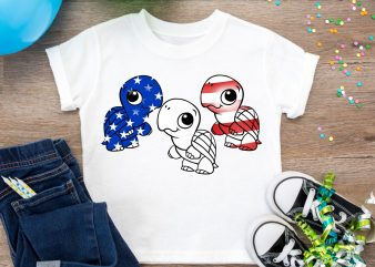 Turtle America Flag T shirt 4th of july – Design PNG Turtle Red White Blue