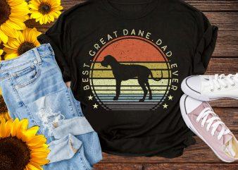 Best Great Dane Dad Ever Vintage T shirt Design PNG – Dane Dog Dad Lover