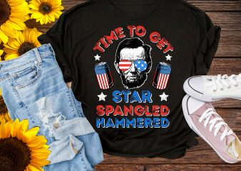 Time To Get Star Spangled Hammered Lincoln Sunglasses 4th Of July Tshirt Design PNG USA Flag