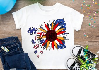 America Flower Flag Autism Awareness Support T shirt Design PNG