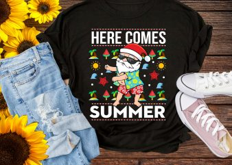 Christmas in Summer Here Comes Santa funny T shirt Design PNG – Santa Floos Summer