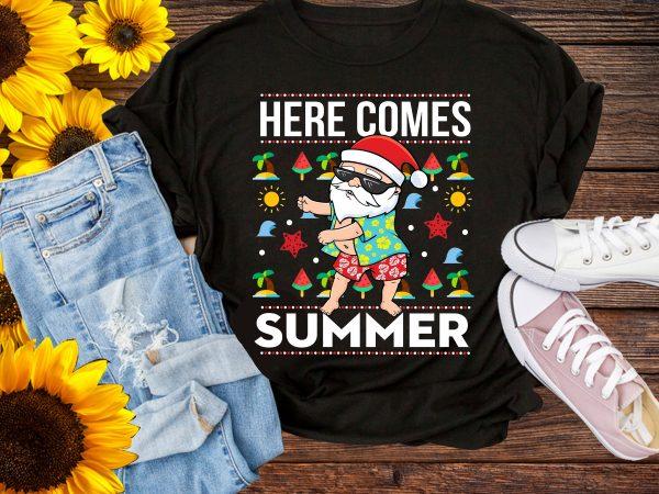 Christmas in Summer Here Comes Santa funny T shirt Design PNG – Santa Floos Summer
