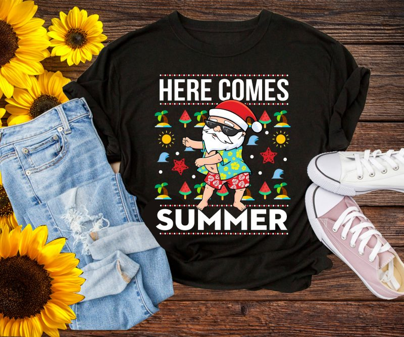 Christmas in Summer Here Comes Santa funny T shirt Design PNG – Santa Floos Summer tshirt designs for merch by amazon