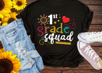First Grade Squad 1st Kindergatern Preschool T shirt Design Back to school