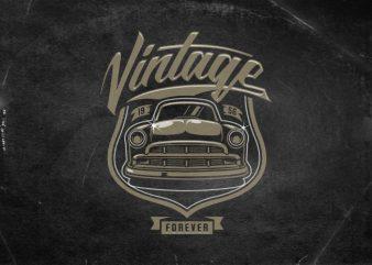 Vintage forever commercial use t-shirt design