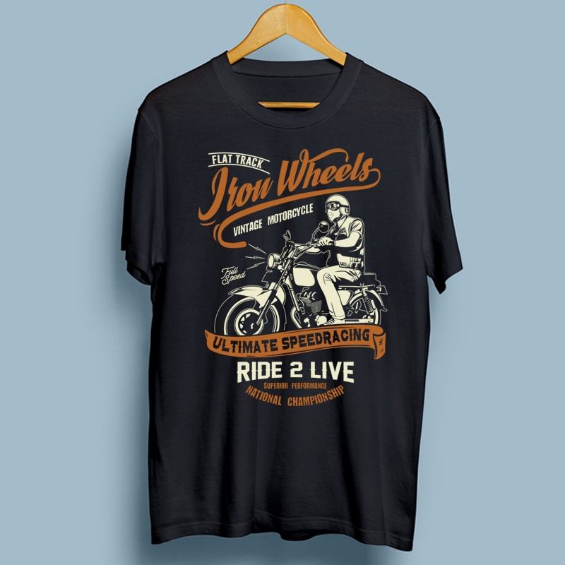 Iron Wheels t shirt designs for print on demand