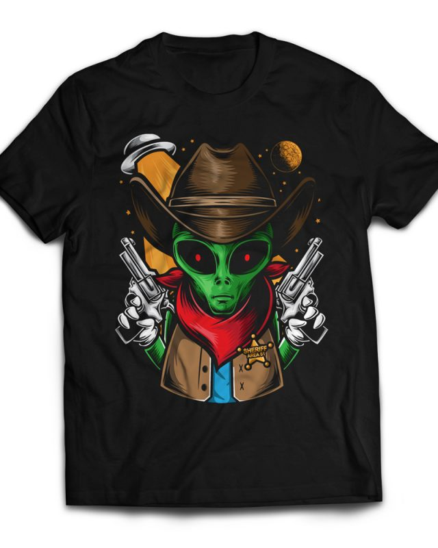 Alien Sheriff t shirt designs for print on demand