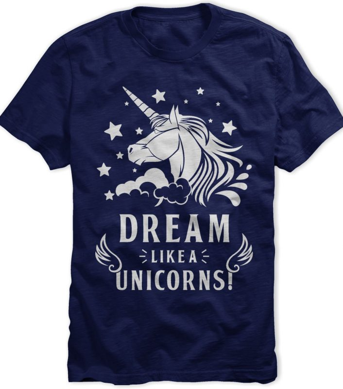 Dream Like Unicorn T-shirt Template t shirt designs for print on demand
