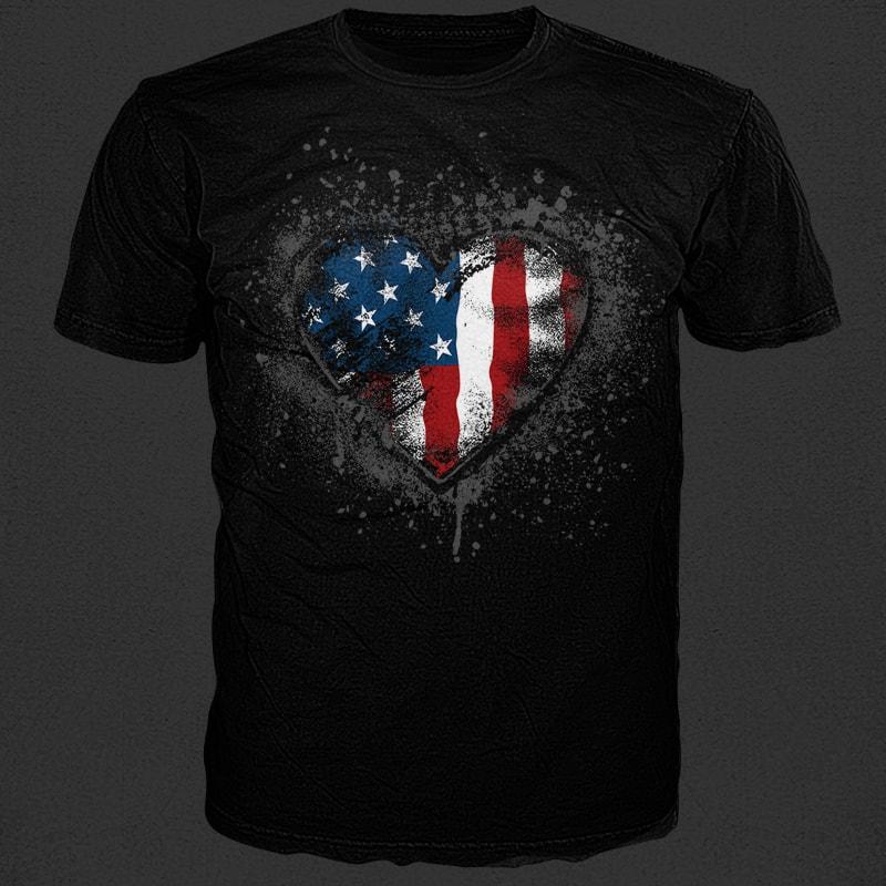 I heart stars and stripes buy tshirt design