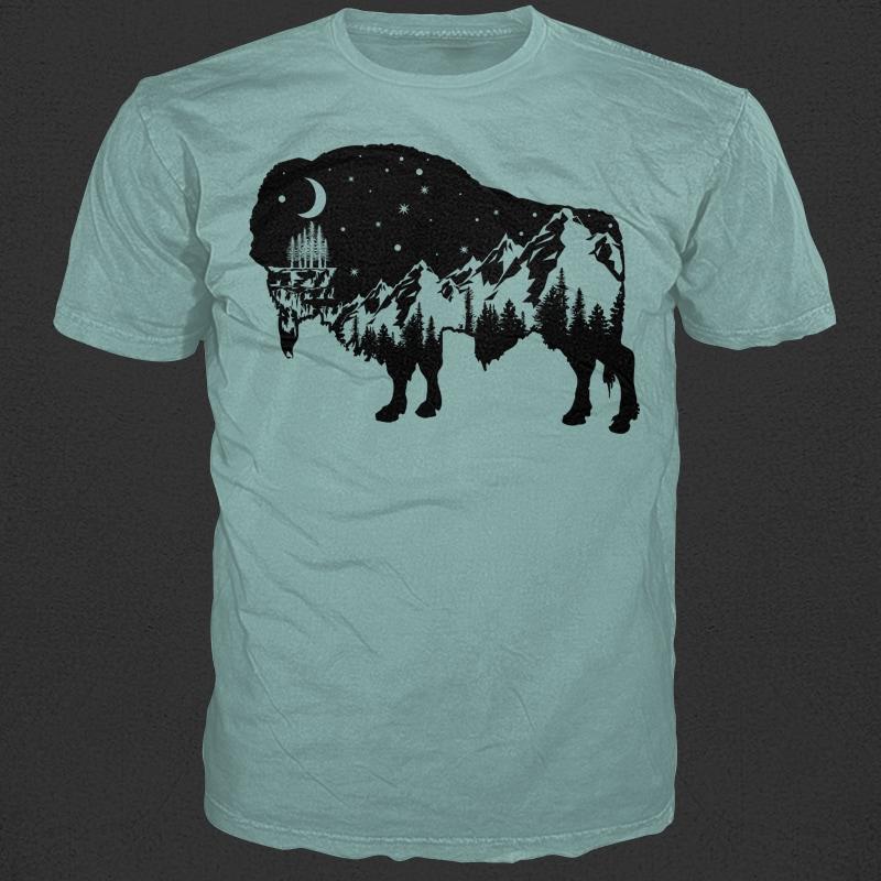 Bison buy t shirt designs artwork