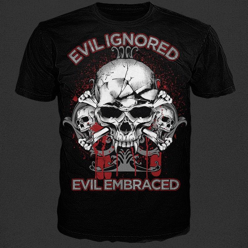 Evil Skull t shirt design png