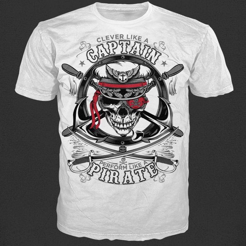 Captain Pirate t shirt design graphic