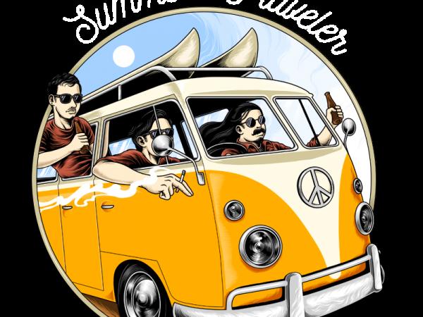 summer traveler t shirt design for download
