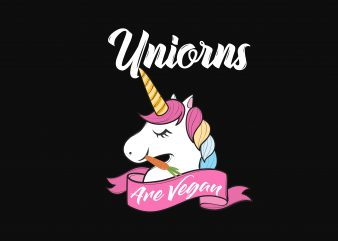 Unicorn Are Vegan print ready vector t shirt design