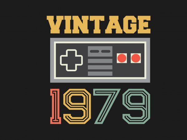 Vintage Gamer 1979 print ready shirt design