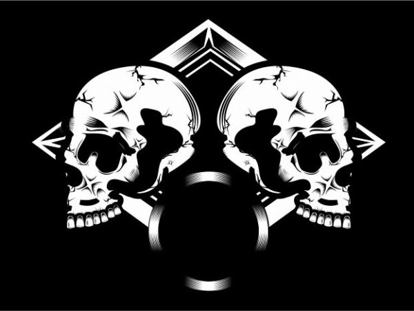 Duo Skull t shirt vector illustration