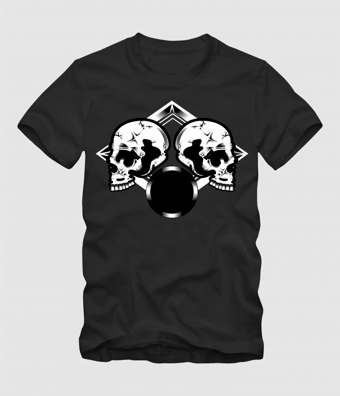 Duo Skull t-shirt designs for merch by amazon