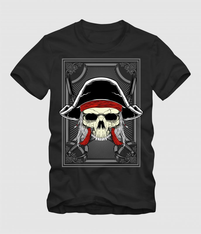 Captain Pirates t-shirt designs for merch by amazon