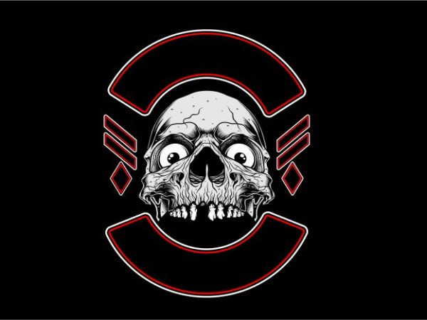 Skull with Label tshirt design vector