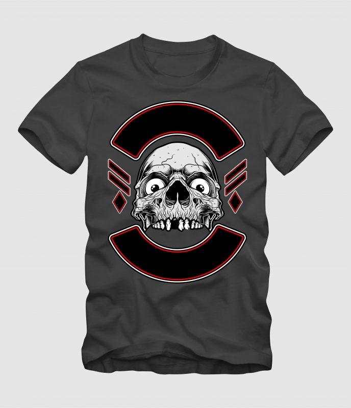 Skull with Label t-shirt designs for merch by amazon