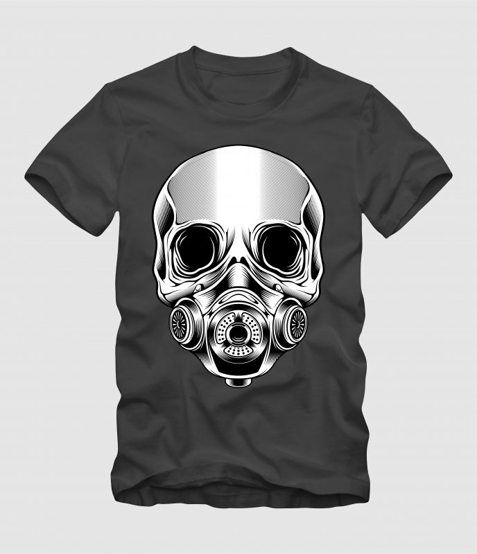 Skull with Mask t-shirt designs for merch by amazon