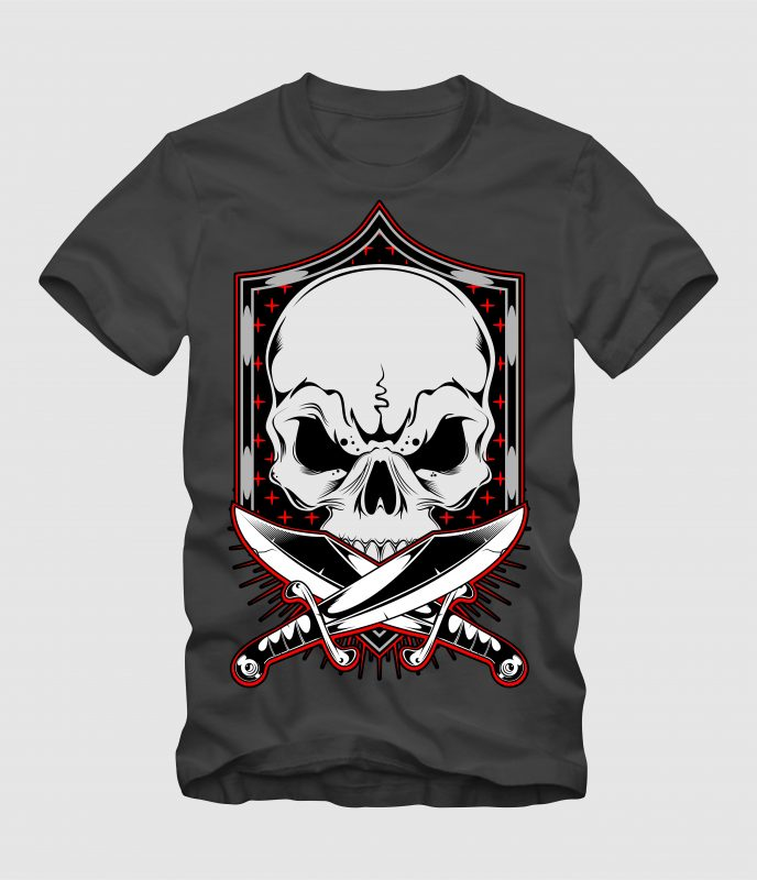 Skull with Frame t-shirt designs for merch by amazon