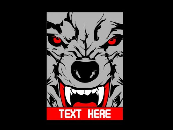 Wolf with Frame print ready shirt design