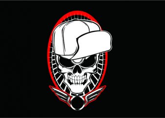 Skull wit Hat Hardcore t shirt template vector