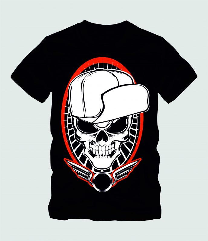 Skull wit Hat Hardcore buy tshirt design