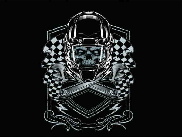 Crazy Skull Racing t shirt vector file