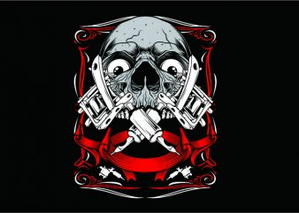 Skull Art Tattoo print ready shirt design