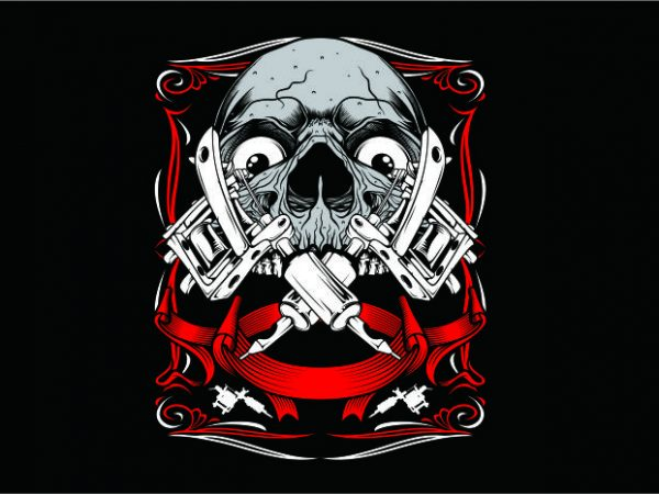 Skull Art Tattoo t shirt template vector