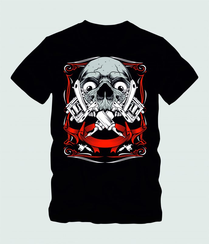 Skull Art Tattoo t shirt designs for merch teespring and printful