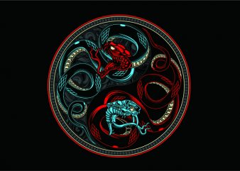 Snake Yin & Yang vector t shirt design artwork