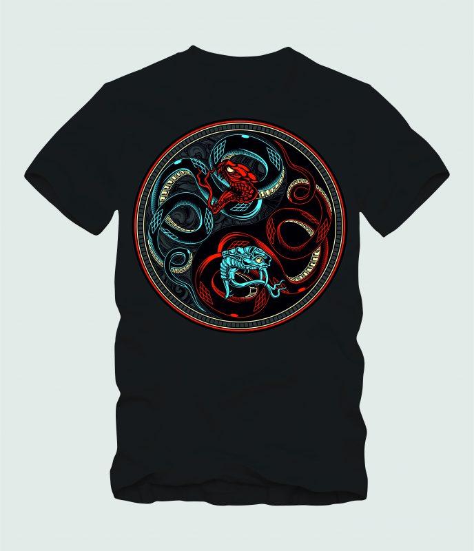Snake Yin & Yang t shirt designs for teespring