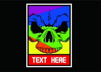 Skull Color Full t shirt template vector