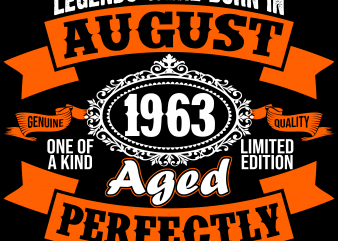 Birthday Tshirt Design – Age Month and Birth Year – August 1963 56 Years Awesome