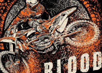 Dirtbike Blood t shirt vector illustration