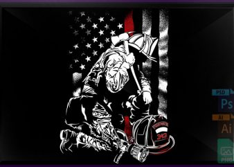 Firefighter Red Line print ready vector t shirt design
