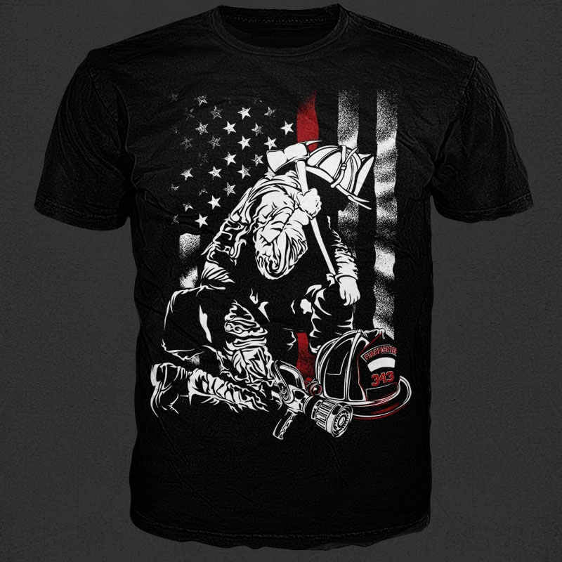 Firefighter Red Line tshirt design for sale
